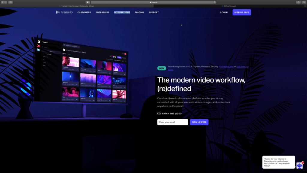 Présentation du projet et page accueil du site FrameIO