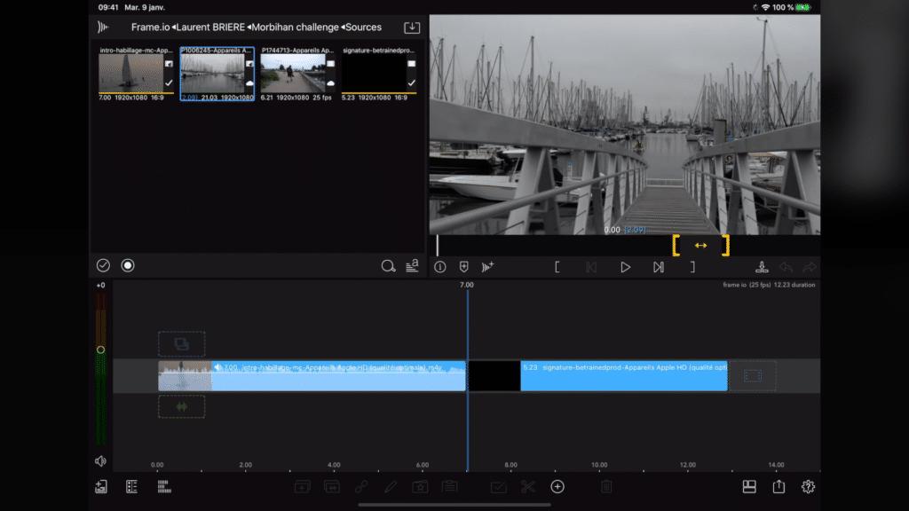 Gestion des rushs vidéo dans Lumafusion depuis le cloud FrameIO