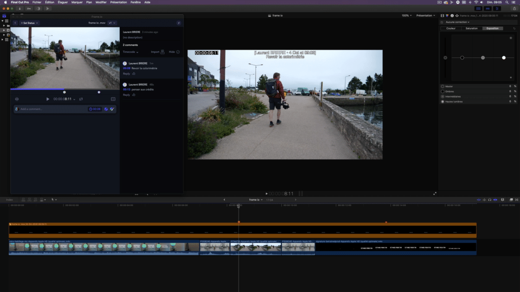 timeline final cut pro commentaires timecode frameio