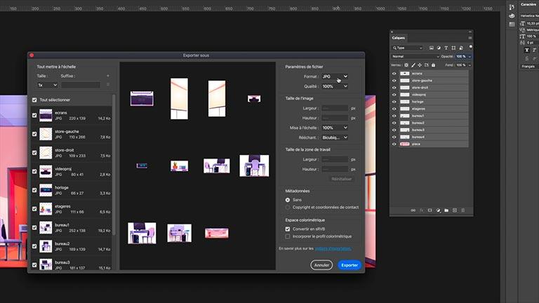 Exportation au format PNG depuis Adobe Photoshop