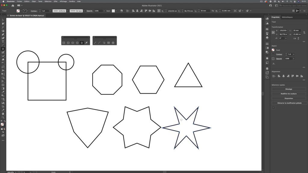 concevoir et dessiner des formes de base dans Illustrator